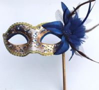 Blue and Gold Pretty Flower Mask